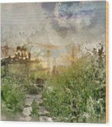 Digital Watercolor Painting Of Beautiful Vibrant Summer Sunrise  Wood Print