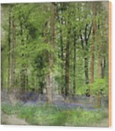 Digital Watercolor Painting Of Stunning Bluebell Forest Landscap Wood Print