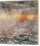 Digital Watercolor Painting Of Stunning Winter Panoramic Landsca Wood Print