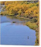 Distant Fisherman On The San Juan River In Fall Wood Print