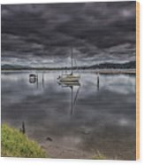 Early Morning Clouds And Reflections On The Bay Wood Print