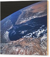 Earth From Space Wood Print