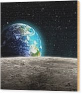Earthrise From The Moon, Artwork Wood Print