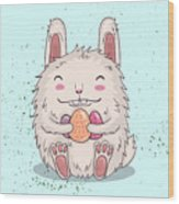 Easter Funny Bunny With Eggs. Vector Wood Print
