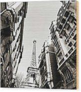 Eiffel Tower  Between Buildings In Wood Print