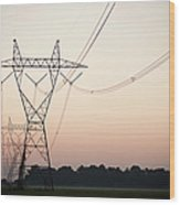 Electrical Power Lines Against The Wood Print