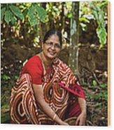 Female Coffee Farmer Harvesting Coffee Wood Print