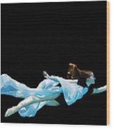 Female Dancer Underwater Against Black Wood Print