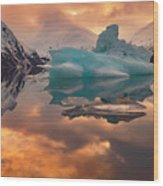 Sunset On Iceberg Wood Print
