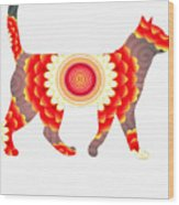 Fire Flower Cats Wood Print