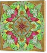 Flower Garden Mandala Wood Print