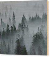Foggy Yosemite Wood Print