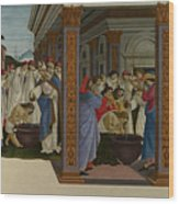 Four Scenes From The Early Life Of Saint Zenobius  Wood Print