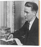 F.scott Fitzgerald Writing At Desk Wood Print