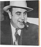 Gangster Al Capone Smoking Cigar Wood Print