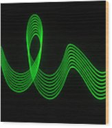 Green Abstract Coloured Lights Trails Wood Print