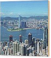 Hong Kong Victoria Harbor At Day Wood Print