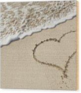 I Love The Beach Wood Print