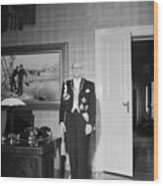 In The Photo The New President Of The Republic Urho Kekkonen Is Photographed At The Presidential Pa Wood Print