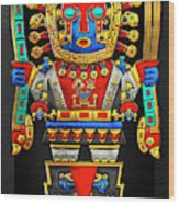 Incan Gods - The Great Creator Viracocha On Black Canvas Wood Print
