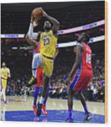 Kobe Bryant And Lebron James Wood Print