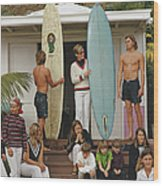 Laguna Beach Surfers Wood Print