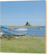 Lindisfarne Castle, Bay And Boat Wood Print