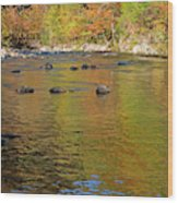 Little River In Autumn In Smoky Mountains National Park Wood Print