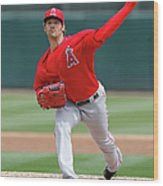 Los Angeles Angels Of Anaheim V Oakland Wood Print