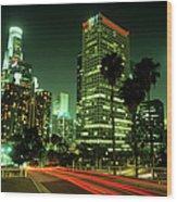 Los Angeles Skyline At Night Wood Print