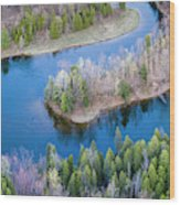 Manistee River Bend From Above Wood Print