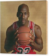 Michael Jordan Portrait Wood Print