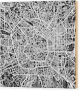 Milan Italy City Map Wood Print