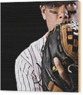 Mixed Race Baseball Player Pitching Wood Print