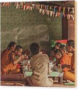 Monks At Breakfast, Wat Monastery Wood Print