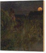 Moonrise Over The Dunes  Wood Print