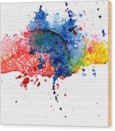 Multicolored Splashes Wood Print