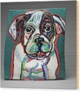 Neon Bulldog Wood Print