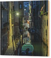Night Walk In Venice Wood Print