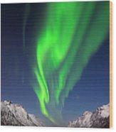 Northern Lights Aurora Borealis At A Wood Print