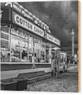 On The Midway - Temptations Of The Night 4 Bw Wood Print