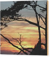 Oregon Coast Sunset Wood Print