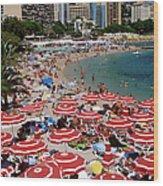 Overhead Of Red Sun Umbrellas At Wood Print