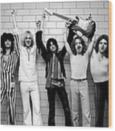 Photo Of Aerosmith And Tom Hamilton And Wood Print