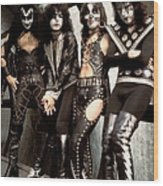 Photo Of Paul Stanley And Kiss And Ace Wood Print