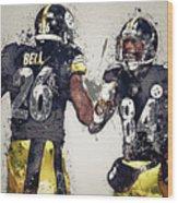 Pittsburgh Steelers.le'veon Bell And Antonio Brown Wood Print