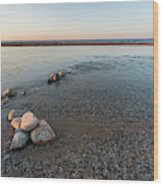 Platte River Mouth At Sunset Wood Print