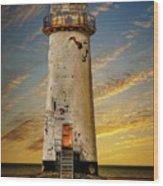 Point Of Ayr Lighthouse Sunset Wood Print