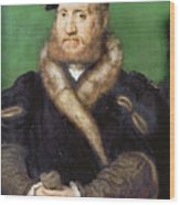 Portrait Of A Bearded Man With A Fur Coat  Wood Print