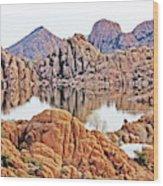 Prescott Arizona Watson Lake Rocks, Hills Water Sky Clouds 3122019 4868 Wood Print
